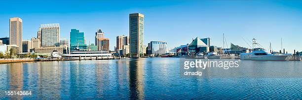 baltimore inner harbor with reflections panorama - baltimore stock photos and pictures