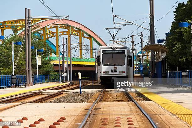 Baltimore Light Rail Train Leaving the Station