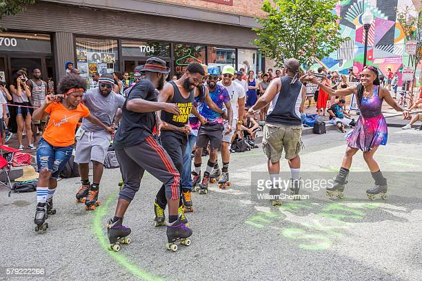 Baltimore Maryland Artscape 2016 -- Roller Skating Club Entertains