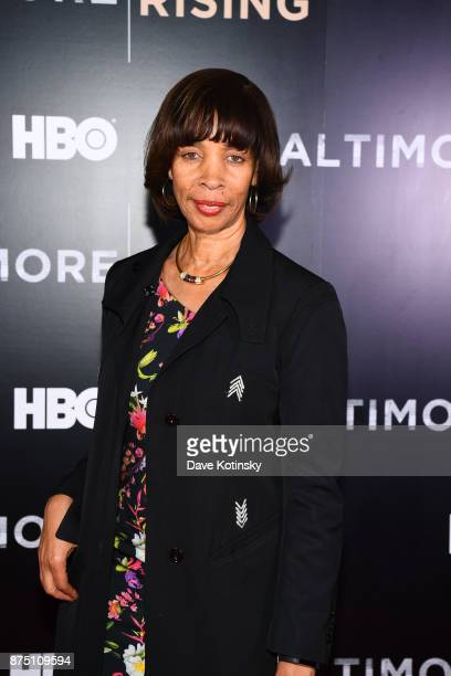Baltimore Mayor Catherine E Pugh speak at the premiere of HBO Documentary Baltimore Rising on November 16 2017 in Baltimore Maryland