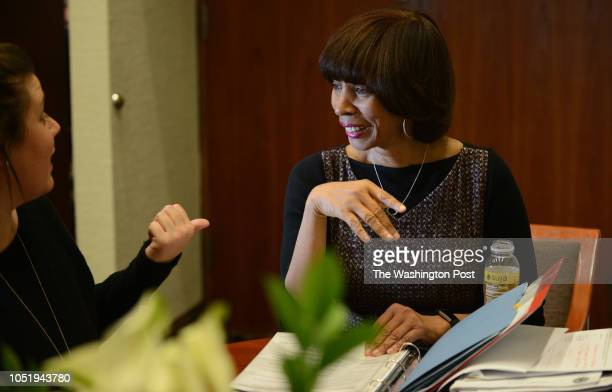 Baltimore mayor Catherine Pugh attends a with her director of special projects Alexandra Smith left inside her office at City Hall in Baltimore Md...