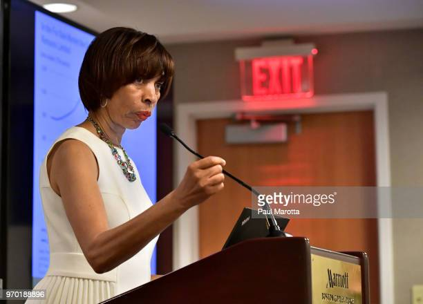 Baltimore Mayor Catherine Pugh speaks at a session on Housing Affordbility the US Conference of Mayors on June 8 2018 in Boston Massachusetts