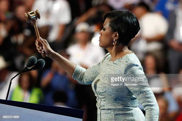 Baltimore Mayor Stephanie RawlingsBlake bangs the gavel calling to order the first day of the Democratic National Convention at the Wells Fargo...