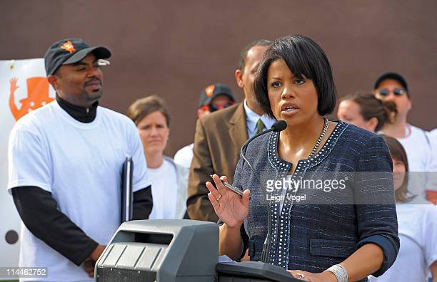 Baltimore Mayor Stephanie RawlingsBlake kicks off AOL's 2nd Annual Monster Help Day During A Press Conference at the SharpLeadenhall Neighborhood on...