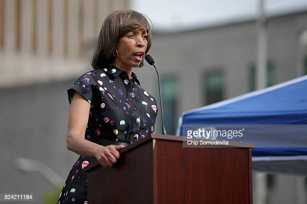 Baltimore mayoral candidate and state Sen Catherine Pugh addresses a rally to mark the anniversary of the death of city resident Freddie Gray at the...