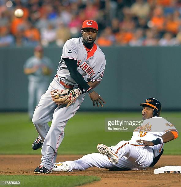 Baltimore Orioles' Adam Jones and Cincinnati Reds second baseman Brandon Phillips watch his relay to first to double up batter Vladimir Guerrero in...