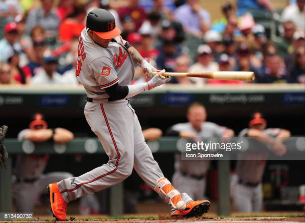 Baltimore Orioles batter Manny Machado hits a foul ball off of his ankle in the third inning of their Major League Baseball game against the...