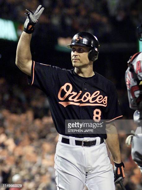 Baltimore Orioles Cal Ripken acknowledges the crowd at Camden Yards 05 October 2001 in Baltimore, Maryland. Ripken is playing his second to last...