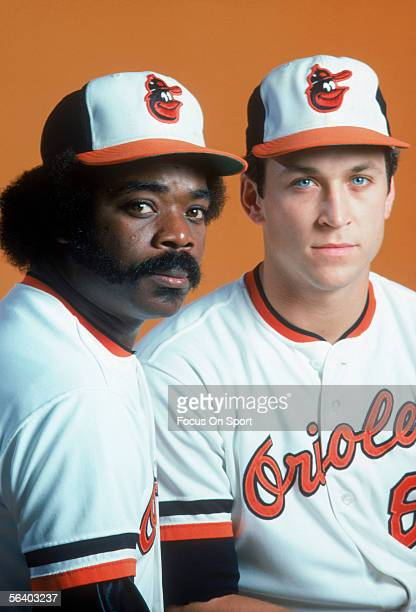 Baltimore Orioles' Cal Ripken Jr #3 and Eddie Murray pose for a photo at Memorial Stadium circa the 1980's in Baltimore Maryland
