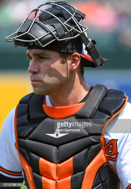 Baltimore Orioles catcher Austin Wynns in action during the game between the Boston Red Sox and the Baltimore Orioles on August 11 at Orioles Park at...