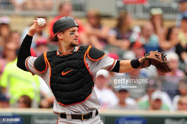 Baltimore Orioles catcher Caleb Joseph returns a throw to his pitcher in the third inning of their Major League Baseball game against the Minnesota...