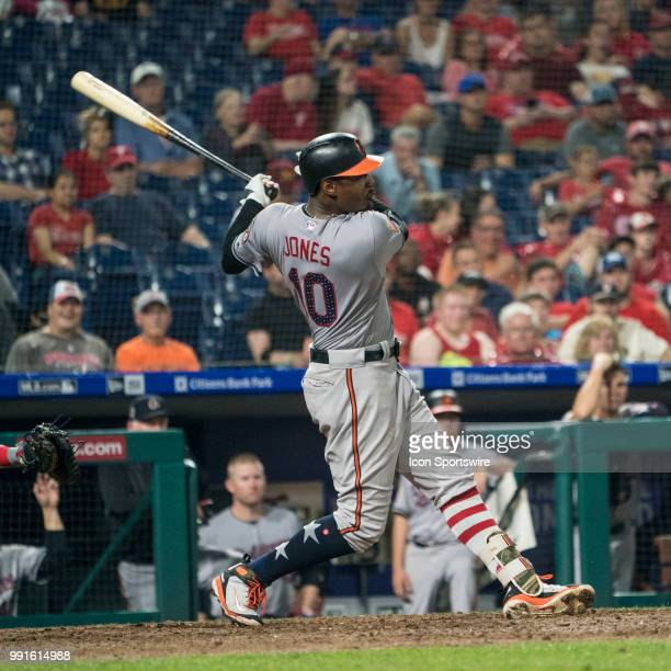 Baltimore Orioles Center field Adam Jones at bat in the eighth inning during an MLB game between the Baltimore Orioles and Philadelphia Phillies on...