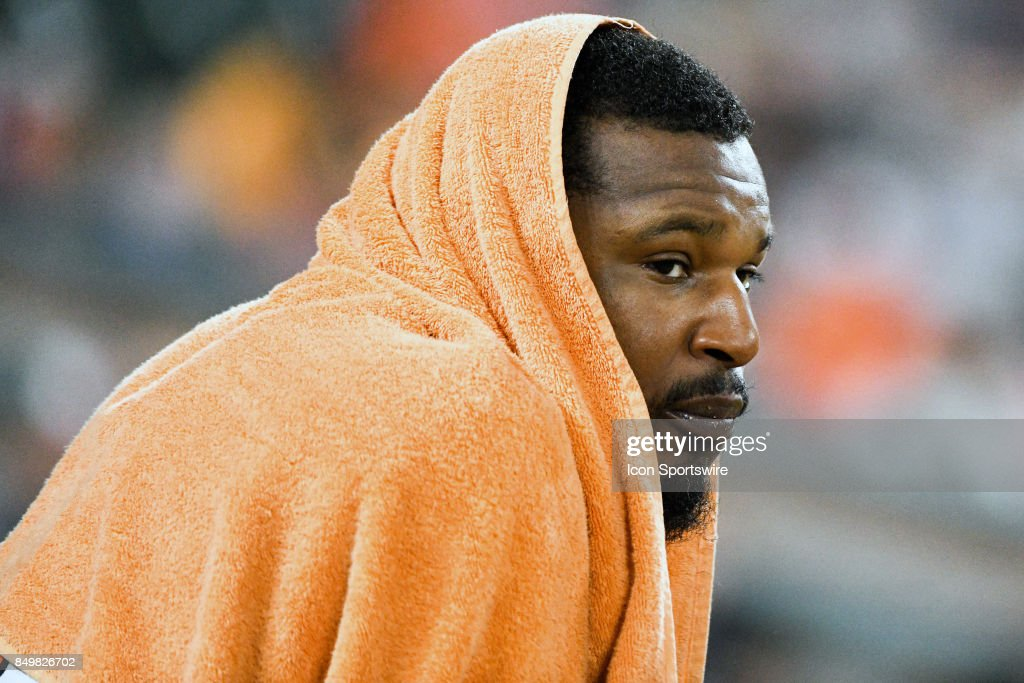 Baltimore Orioles center fielder Adam Jones (10) sits on the bench during an MLB game between the Boston Red Sox and the Baltimore Orioles on September 19, 2017, at Orioles Park at Camden Yards in Baltimore, MD. The Boston Red Sox defeated the Baltimore Orioles, 1-0 1n eleventh innings.