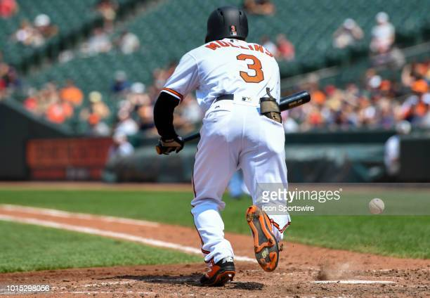 Baltimore Orioles center fielder Cedric Mullins attempts a bunt in the fifth inning during the game between the Boston Red Sox and the Baltimore...