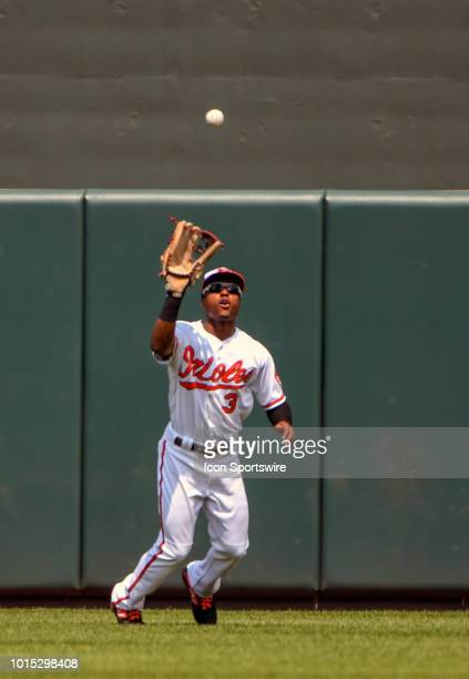 Baltimore Orioles center fielder Cedric Mullins fields a fly ball during the game between the Boston Red Sox and the Baltimore Orioles on August 11...