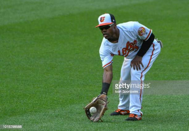 Baltimore Orioles center fielder Cedric Mullins warms up in the outfield during the game between the Boston Red Sox and the Baltimore Orioles on...