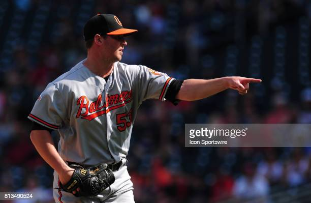 Baltimore Orioles closing pitcher Zach Britton reacts after striking out the final Minnesota Twins batter of the game in the ninth inning of their...