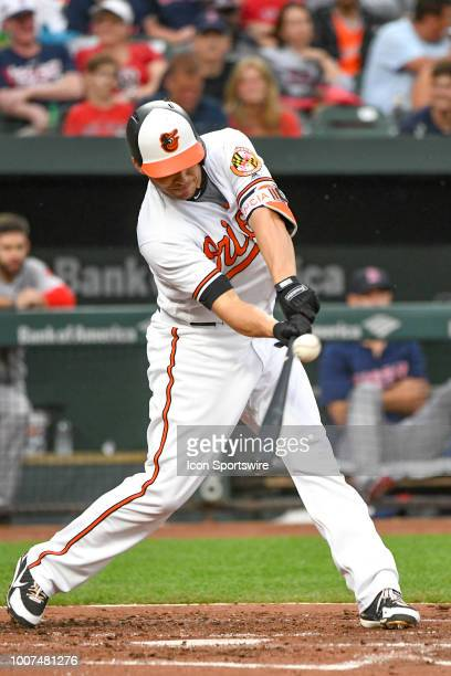 Baltimore Orioles designated hitter Danny Valencia hits a single in the second inning during the game between the Boston Red Sox and the Baltimore...