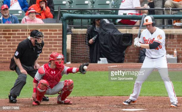 Baltimore Orioles designated hitter Mark Trumbo lets the ball go through to Philadelphia Phillies catcher Andrew Knapp during a MLB game between the...