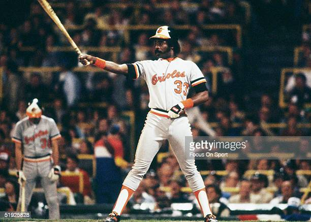 Baltimore Orioles' Eddie Murray takes aim against the Chicago White Sox during the American League Championship Series at Comiskey Park in October of...