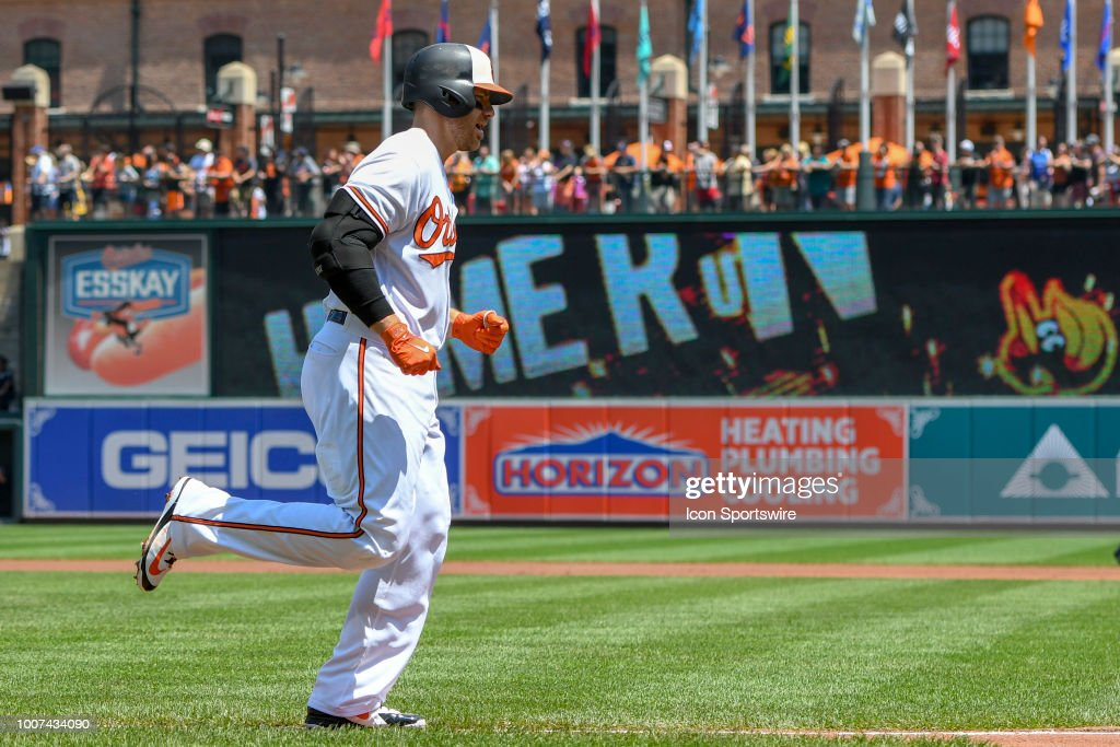 Baltimore Orioles first baseman Chris Davis (19) rounds the bases after hitting a two run home run during the game between the Tampa Bay Rays and the Baltimore Orioles on July 29, 2018, at Orioles Park at Camden Yards in Baltimore, MD.
