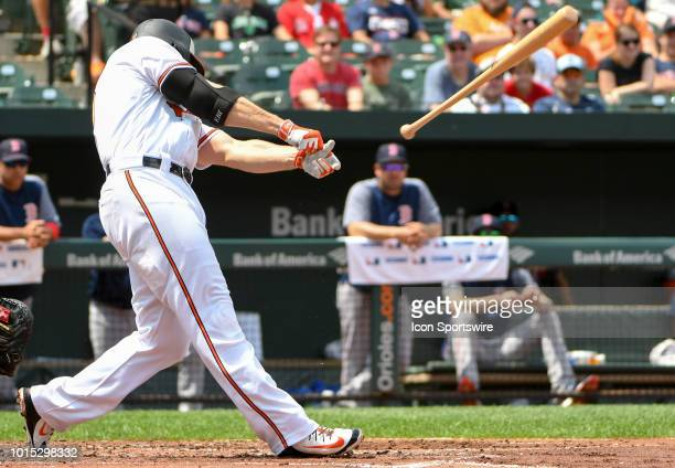 Baltimore Orioles first baseman Chris Davis strikes out and looses his bat in the second inning during the game between the Boston Red Sox and the...