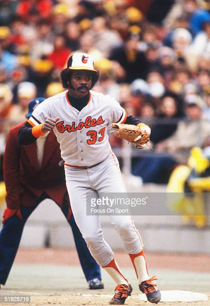 Baltimore Orioles' first baseman Eddie Murray steps off first base to react to a hit during the World Series against the Pittsburgh Pirates at Three...