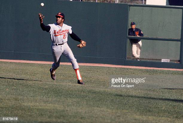Baltimore Orioles' Frank Robinson fields a ground ball during the1969 World Series against the New York Mets at Shea Stadium in Flushing NY