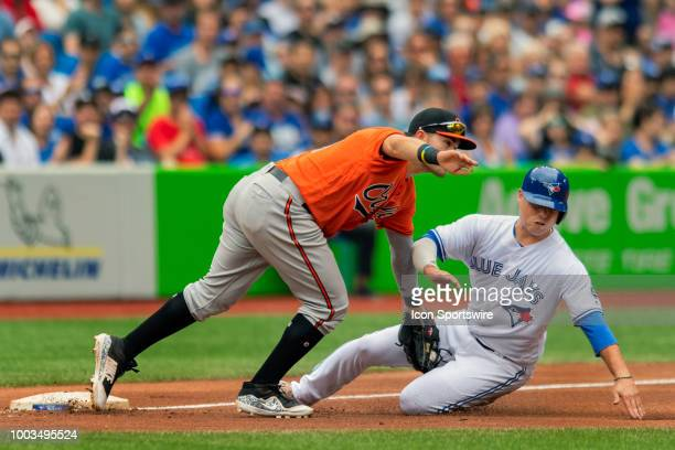Baltimore Orioles Infielder Renato Nunez tags out Toronto Blue Jays Infielder Aledmys Diaz at third during the MLB game between the Baltimore Orioles...