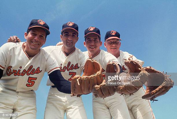 Baltimore Orioles' Infielders: third baseman Brooks Robinson, short stop Mark Belanger, second baseman Dave Johnson and first baseman Boog Powell...