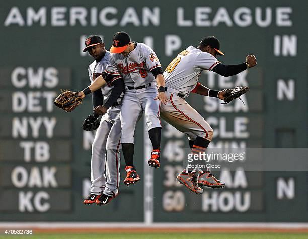 Baltimore Orioles left fielder Alejandro De Aza , Baltimore Orioles left fielder David Lough , and Baltimore Orioles center fielder Adam Jones...