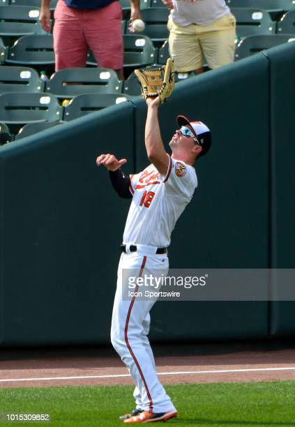 Baltimore Orioles left fielder Trey Mancini catches an eighth inning fly ball during the game between the Boston Red Sox and the Baltimore Orioles on...