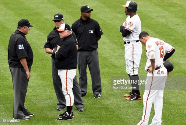 Baltimore Orioles manager Buck Showalter talks with umpire Hunter Wendelstedt umpire Paul Nauert as center fielder Adam Jones talks with umpire Alan...