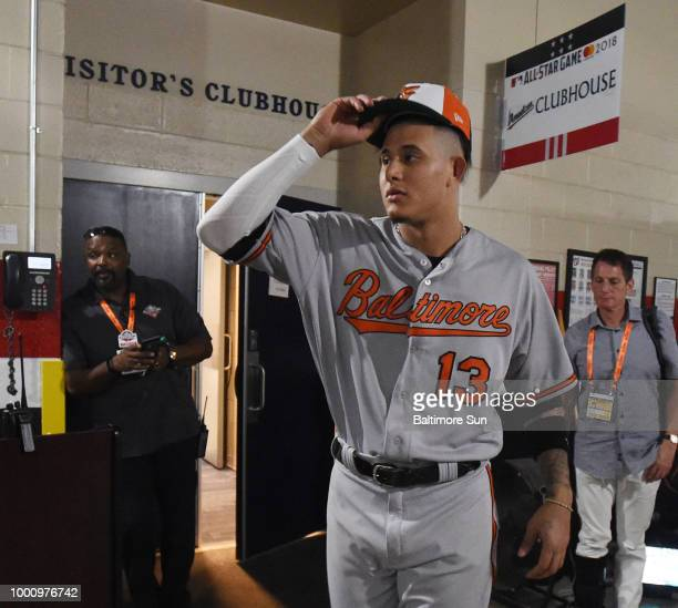 Baltimore Orioles' Manny Machado looks for his family outside the club house after playing in the Major League Baseball AllStar Game on Tuesday July...