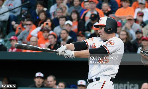 Baltimore Orioles' Mark Trumbo connects for a solo home run against the Washington Nationals in the first inning on Monday May 8 2017 at Oriole Park...