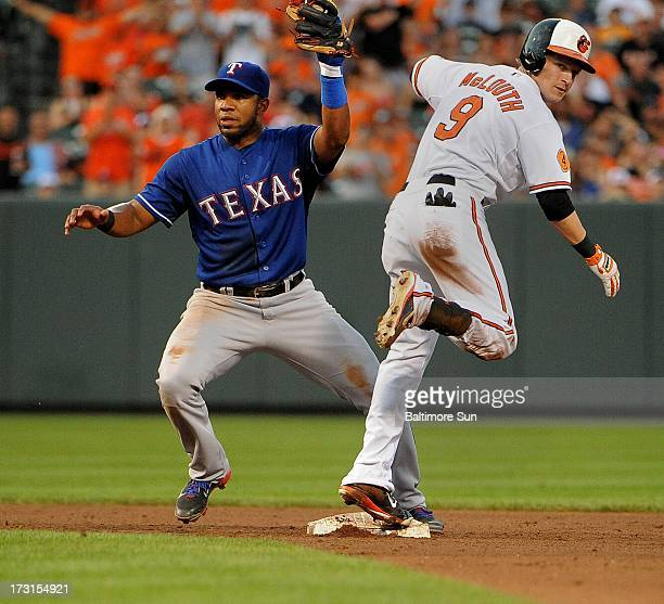 Baltimore Orioles Nate McLouth is safe at 2nd on a double in the 4th inning as Elvis Andrus for the Texas Rangers is late on the tag at Oriole Park...