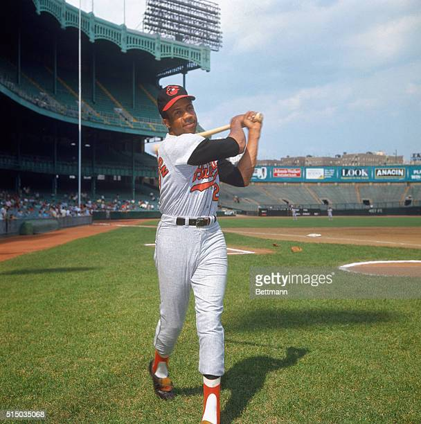 Baltimore Orioles' outfielder Frank Robinson in batting stance at Yankee Stadium