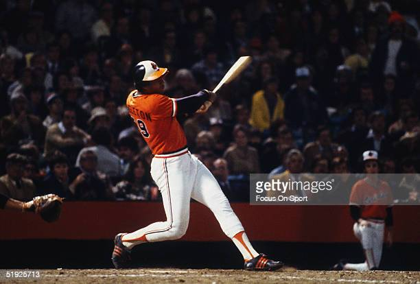 Baltimore Orioles' outfielder Ken Singleton swings against the Pittsburgh Pirates during the World Series at Memorial Stadium in October of 1979 in...