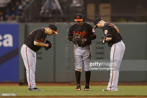 Baltimore Orioles outfielders Hyun Soo Kim Adam Jones and Nolan Reimold celebrate after a win against the San Francisco Giants in an interleague game...