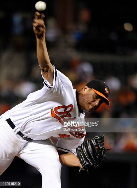 Baltimore Orioles pitcher Daniel Cabrera works against the Kansas City Royals. The Orioles defeated the Royals, 5-2, at Oriole Park at Camden Yards...