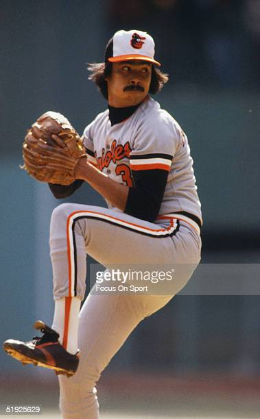 Baltimore Orioles' pitcher Dennis Martinez pitches against the Pittsburgh Pirates during the World Series at Three Rivers Stadium in October of 1979...