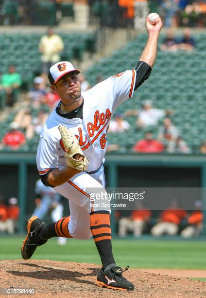 Baltimore Orioles pitcher Sean Gilmartin pitches during the game between the Boston Red Sox and the Baltimore Orioles on August 11 at Orioles Park at...