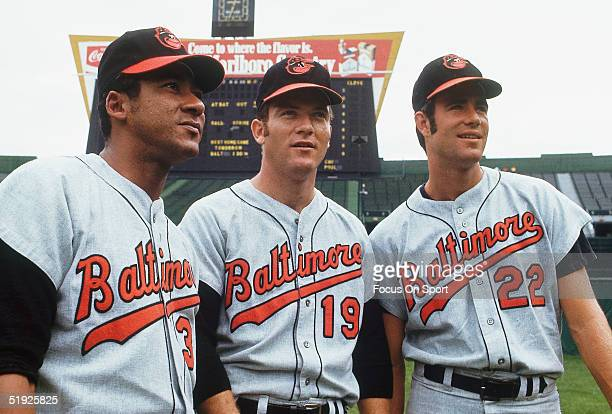 Baltimore Orioles' pitchers Mike Cuellar Dave McNally and Jim Palmer pose for photos at Memorial Stadium circa 1970's in Baltimore Maryland