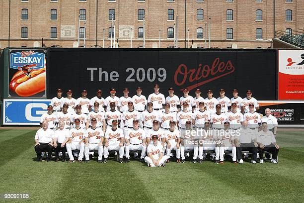 Baltimore Orioles pose for their team photo on August 11 2009 at Camden Yards in Baltimore Marryland Back Row Koji Uehara Jeremy Guthrie Nick...