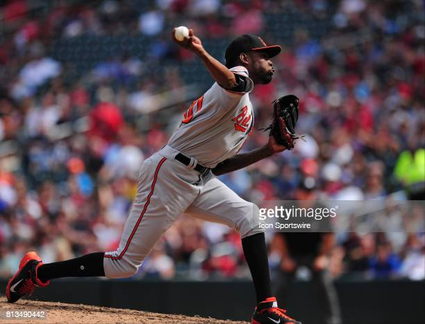 Baltimore Orioles relief pitcher Miguel Castro delivers to the Minnesota Twins in the eighth inning of their Major League Baseball game on July 09...