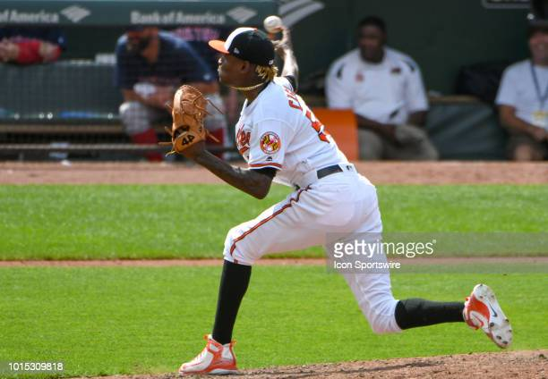 Baltimore Orioles relief pitcher Miguel Castro pitches in the eighth inning during the game between the Boston Red Sox and the Baltimore Orioles on...