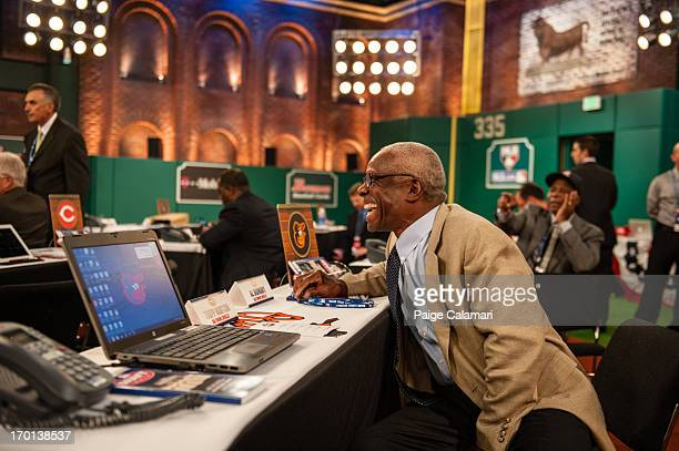 Baltimore Orioles representative Al Bumbry is seen during the 2013 FirstYear Player Draft at MLB Network's Studio 42 on June 6 2013 in Secaucus New...