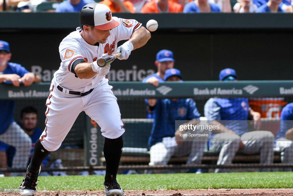 9341ce7ed Baltimore Orioles right fielder Joey Rickard pops up a bunt attempt ...