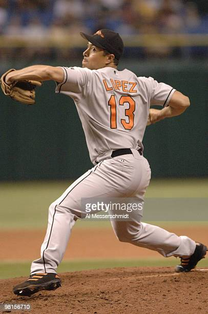 Baltimore Orioles Rodrigo Lopez pitches against the Tampa Bay Devil Rays July 22 2006 in St Petersburg