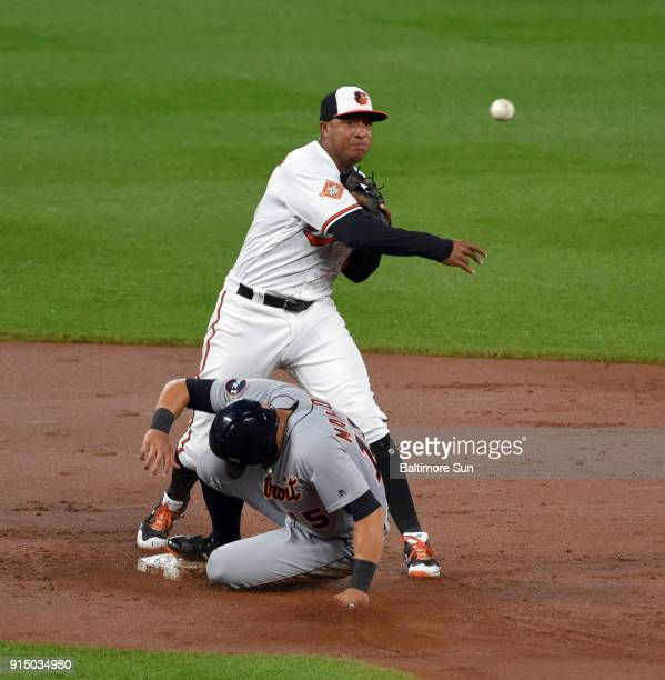 Baltimore Orioles second baseman Jonathan Schoop turns a triple play to end the second inning getting the force out on the Detroit Tigers' Mikie...